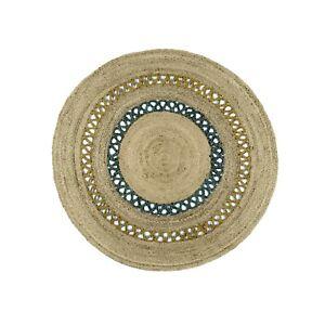 "4x4"" Bohemian Jute Area Rug Braided Round Rag Rugs for Living Room Carpet Mat"
