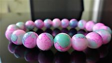 "Rosebud Gemstone bead bracelet for Men Women Stretch 10mm 7.5"" inch Multicolor"