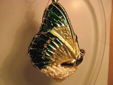 LARGE GLASS GREEN SPRING BUTTERFLY  CHRISTMAS ORNAMENT  ( MADE IN GERMANY)