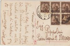 ITALY 1945  MULTI FRANCHISING  AIRMAIL POSTCARD COVER FROM TREVISO TO FIRENZE
