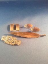 VINTAGE STERLING SILVER JEWELRY LOT 5 pcs MARCASITE PIN FEATHER PIN