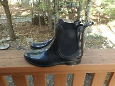 Chelsea Womens Size 10 Black Rubber Ankle Rain Boots Shoe