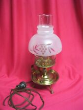 Vintage Lamp Brass Glass Frosted Grape Leaf Table Lantern style 12""