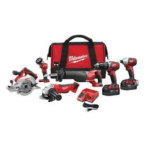 Milwaukee Combo Tool Set 6-Tool 18-Volt 2-Batteries Cordless Charger Brushed Bag
