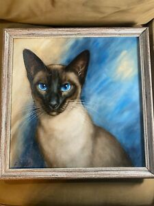 """Stunning """"Portrait Of A Siamese Cat"""" Oil Painting - Signed And Framed P29"""