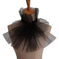 Victorian Black Gauze Jabot Gothic Steampunk Cravat Medieval Detachable Collar