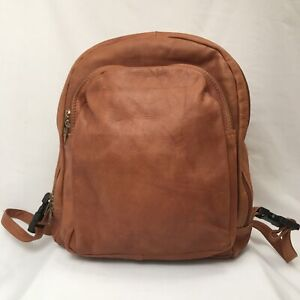 Simon Of California Soft Leather Brown Backpack Adjust. Straps Zip Compartments