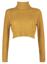 🔶 Cable Knit Crop Top Jumper Mustard Yellow Size S 8-10 Long Sleeve 🔶