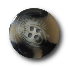 10 große rauchgrau schwarz weiß melierte Kunststoff Knöpfe (1042sv-26mm)