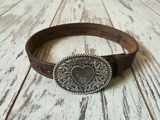 New Girls Justin Western Belt Silver Heart Buckle Leather Sz 18