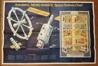 "Scholastic News Ranger Space Stations Chart NASA 1971 42""W x 29""T Mint!"