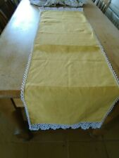 More details for unused vintage pure irish linen table runner - cotton lace