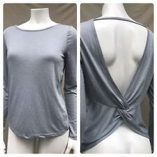 NEW GAP FIT GRAY Open Back Knot Tee Long Sleeve Pilates Yoga Top Shirt MEDIUM M