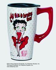 BETTY BOOP Brains Ceramic Coffee Travel Mug, Plastic Lid NIB [11924] Spoontiques