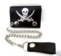 Biker Chain Wallet Jolly Roger Pirate Skull Swords Trifold Leather USA Made NWT