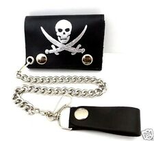 Chain Wallet Trifold Jolly Roger Pirate Skull Swords Leather Biker USA Made NWT