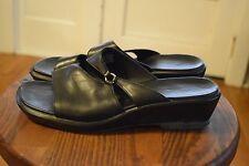 d04bda2878e54 Clarks Black Leather Sandals Slides Comfort Shoes Women s 10 M Style 34681