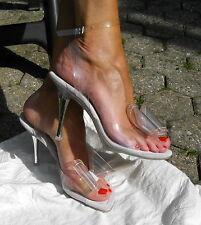 Splash High Heels Spike Stiletto Anklet Pink clear durchsichtig 39 + Ohrringe*