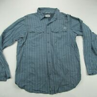 Columbia Mens Button Front Shirt Blue Checks Long Sleeve Pockets Fishing Large