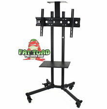 LCD TV Cart Stand Rolling AV Plasma Flat Panel Screen Mount Caster Shelf Holder
