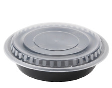 """(50-Pack) 48 oz. Black 9"""" Round Microwavable Heavy Weight Container with Lid"""