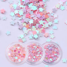 12 Boxes Pink Nail Art Glitter Sequins Flakes Rhinestone Heart 3D Decoration Set