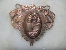 Vintage Art Nouveau Cameo Connector Brass Pendant Finding, Authentic Vintage, 1