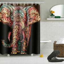 "72"" Bathroom Decor Ethnic Mandala African Elephant Shower Curtain Liner Hooks"