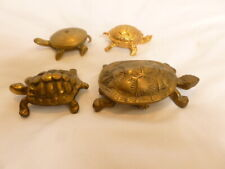 Four Bronze, Brass Turtle Figures ~ Two having inside shell storage.