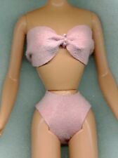 Barbie Doll Clothes - Bikini Swim Suit - Pink Lambskin Leather W/ Jewels