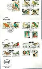 Aitutaki 1983 Bird & Royalty overprints set 19 on 3 official unaddressed FDC's