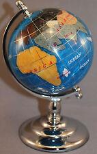 Genuine Multi-Gemstone Desktop Globe Chrome Base Turquoise Globe Free S & H
