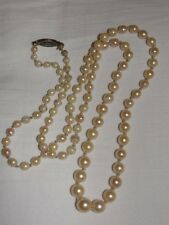 Long Graduated Cultured Pearl Necklace with Sterling Silver Filigree Clasp