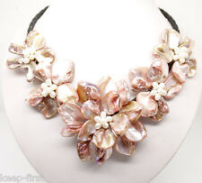 Natural Pink freshwater pearl sea shell flower champange necklace 18'' Jewelry