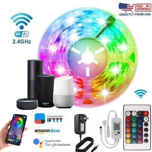 32.8ft 16.4ft LED Strip Lights 5050 RGB Bluetooth Color Change Remote for RoomS