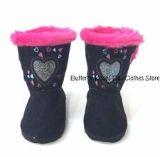Heart Glitter Button Fur Boots 18 in Doll Clothes Fits American Girl