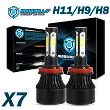 IRONWALLS 2x H11 H9 H8 2400W LED Headlight Bulb Kit 6500K Hi/Lo Beam/Fog 4-Sided