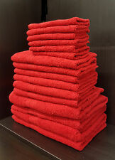 Pack of 10 100% Egyptian Towels Cotton Home Hotel Towel Set Face Hand Bath Red