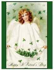 St. Patrick's Day Postcard: Vintage Repro Print - Irish Angel w Shamrocks