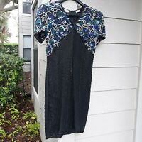 STENAY Dress Size 10 Black Blue Silk Beaded Sequins Knee Length Formal Cocktail