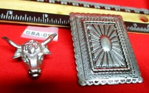 2 Vintage Bolos Ready to go on your cord One Rectangle Concho & Steer Head
