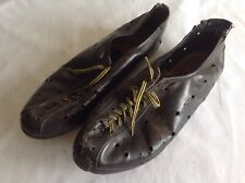 BLACK LEATHER VINTAGE CYCLING SHOES SIZE 42 EUR - USED CONDITION