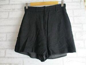 Kookai Black Sz 38 Shorts Linen mix Pockets Button front