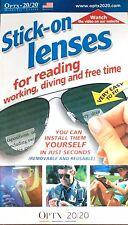 Optx 20/20 (Hydrotac) Stick On Reading Lenses Bifocal - +2.50 magnification
