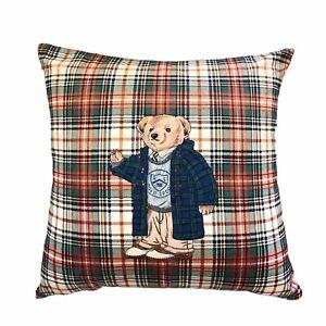 Vintage Ralph Lauren Polo Bear Sport Plaid Throw Pillow Down Fill 18 X 18
