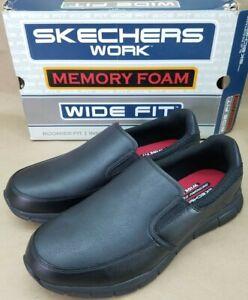 Skechers GROTON Mens Black 77157W/BLK Slip Resistant Work Shoes Size 12