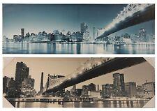 2er Set große Wandbilder Stadt Motive NEW York 90x30x3 cm