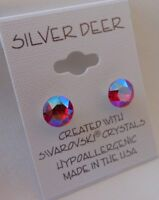 HYPOALLERGENIC Stud Earrings Swarovski Elements Crystal Siam Aurora Borealis