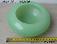 Pure hand carved jade alms bowl Chinese folk culture