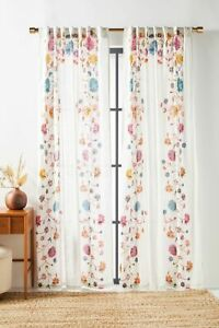 """PAIR (2) Anthropologie Nadine Curtain Panel Drapes Multicolor Floral 50"""" x 63"""""""